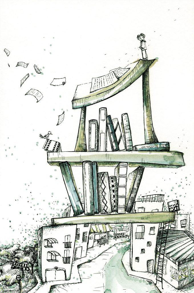 Dibujo esquemático de una estantería de libros.